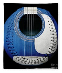 Blue Guitar Baseball White Laces Square Fleece Blanket
