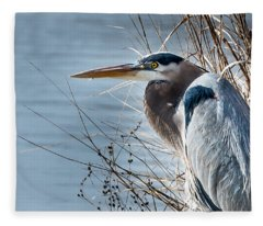 Blue Heron At Pond Fleece Blanket