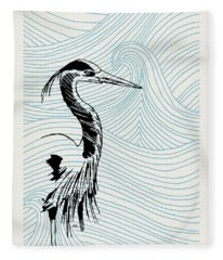 Blue Heron On Waves Fleece Blanket