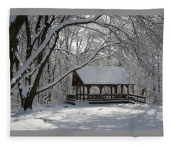 Blue Heron Park In Winter Fleece Blanket