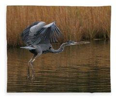 Blue Heron Takes Flight Fleece Blanket