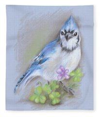 Blue Jay In Spring With Oxalis Fleece Blanket