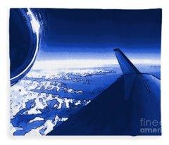 Blue Jet Pop Art Plane Fleece Blanket
