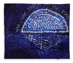 Blue Moonrise Original Painting Fleece Blanket