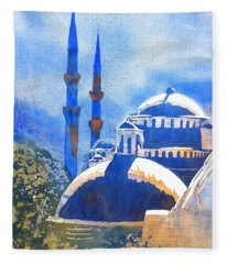 Blue Mosque In Blues Fleece Blanket