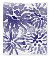 Blue Mums- Watercolor Floral Art Fleece Blanket