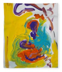 Blue Octopus And Yellow Abstract Fleece Blanket