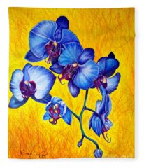 Blue Orchids 1 Fleece Blanket