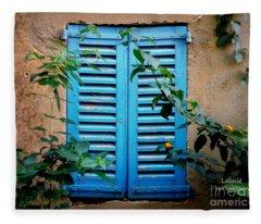 Blue Shuttered Window Fleece Blanket