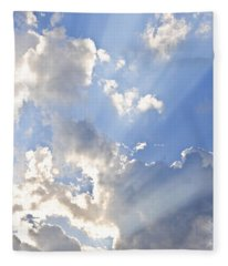 Blue Sky With Sun Rays Fleece Blanket