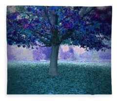 Blue Tree Monet Painting Background Fleece Blanket