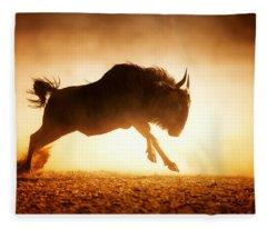 Blue Wildebeest Running In Dust Fleece Blanket