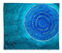 Blue World Original Painting Fleece Blanket