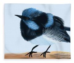 Blue Wren Beauty Fleece Blanket