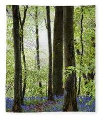 Bluebells In The Woods Fleece Blanket