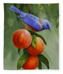 Bluebird And Peaches Greeting Card 1 Fleece Blanket