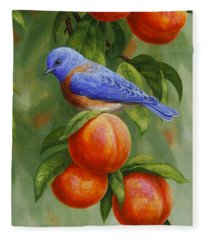 Bluebird And Peaches Greeting Card 2 Fleece Blanket