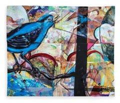 Bluebird Sings With Happiness Fleece Blanket