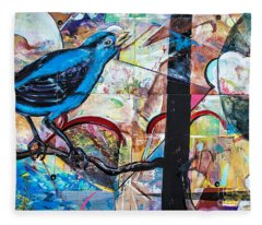 Bluebird Sings With Happiness Fleece Blanket