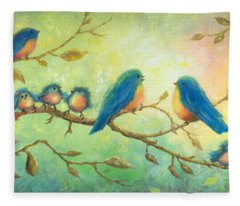 Bluebirds On Branches Fleece Blanket