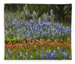 Bluebonnets Paintbrush And Prickly Pear Fleece Blanket