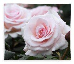 Blush Pink Roses Fleece Blanket