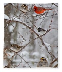 Blushing Red Cardinal In The Snow Fleece Blanket