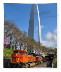 Bnsf Ore Train And St. Louis Gateway Arch Fleece Blanket