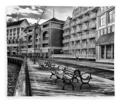 Boardwalk Early Morning In Black And White Walt Disney World Fleece Blanket