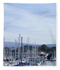 Boat Dock And Big Rocks Left Fleece Blanket