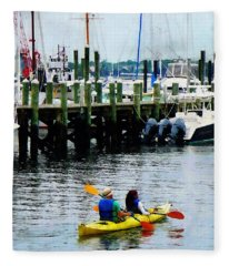 Boat - Kayaking In Newport Ri Fleece Blanket