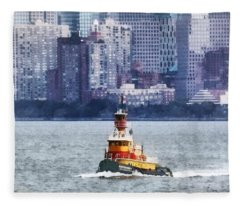Boat - Tugboat By Manhattan Skyline Fleece Blanket
