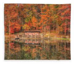 Boathouse At Boley Lake Fleece Blanket