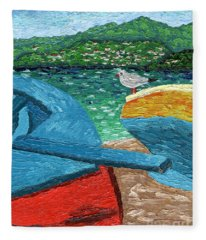 Boats And Bird At Rest Fleece Blanket