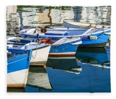 Boats At Anchor Fleece Blanket