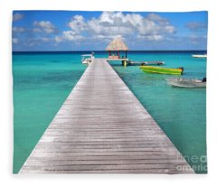 Boats At The Jetty In A Tropical Turquoise Lagoon Fleece Blanket