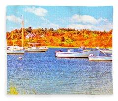 Boats In Cape Cod Bay Massachusetts Fleece Blanket