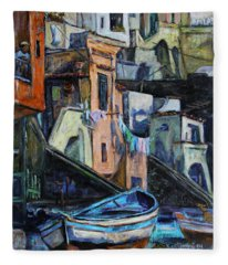 Boats In Front Of The Buildings I  Fleece Blanket