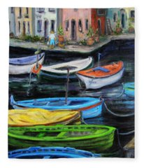 Boats In Front Of The Buildings II Fleece Blanket