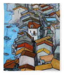 Boats In Front Of The Buildings Iv Fleece Blanket