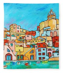 Boats In Front Of The Buildings Vii Fleece Blanket