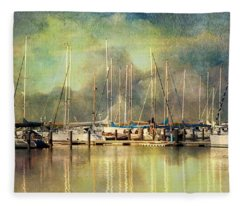 Boats In Harbour Fleece Blanket