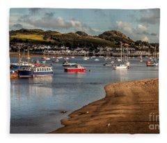 Boats In The Harbour Fleece Blanket