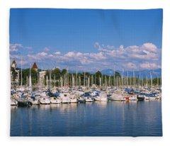 Boats Moored At A Harbor, Lake Geneva Fleece Blanket
