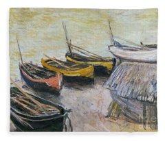 Boats On The Beach Fleece Blanket
