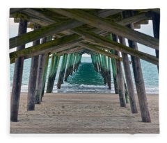 Bogue Banks Fishing Pier Fleece Blanket