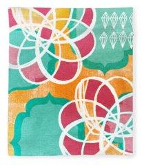 Boho Floral 1 Fleece Blanket
