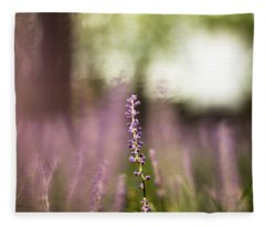 Bokeh With Purple Wildflower Fleece Blanket
