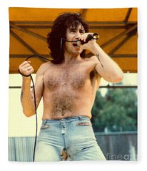 Bon Scott Of Ac Dc At Day On The Green - July 1979 Fleece Blanket