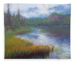 Bonnie Lake - Alaska Misty Landscape Fleece Blanket